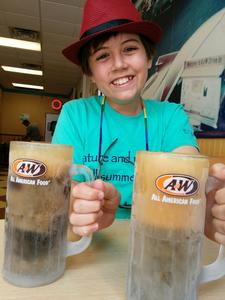 Robert and our root beer, July 10, 2017